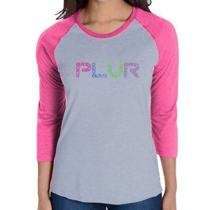Women's Raglan Baseball Word Art T-shirt - PLUR